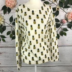 Garnet Hill Size M Pineapple Print Merino Wool